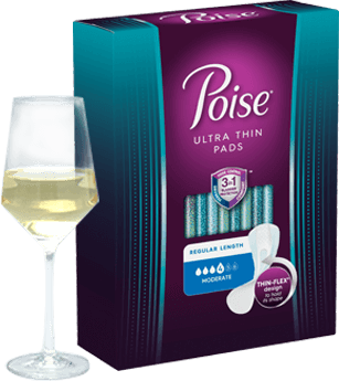 Poise® Ultra Thin Pads regular length, moderate absorbency
